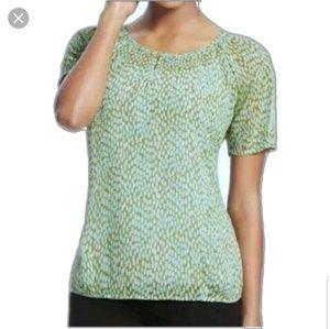 Cabi pebble green semi sheer blouse short sleeve